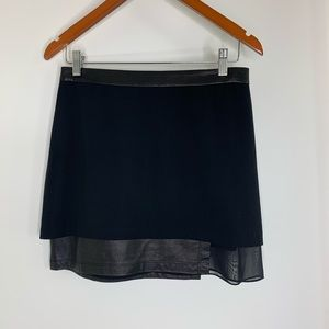 ALICE+OLIVIA Black Chiffon and Leather Mini Skirt